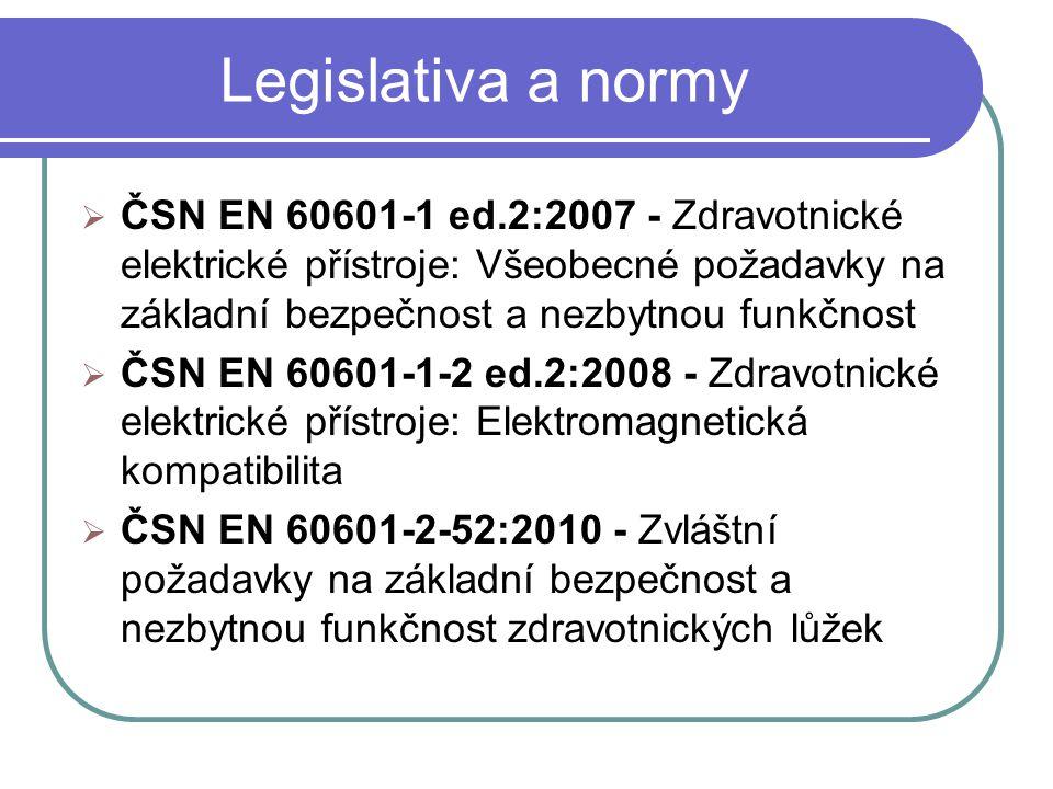Legislativa a normy  ČSN EN 60601-1 ed.2:2007 - Zdravotnické elektrické přístroje: Všeobecné požadavky na základní bezpečnost a nezbytnou funkčnost  ČSN EN 60601-1-2 ed.2:2008 - Zdravotnické elektrické přístroje: Elektromagnetická kompatibilita  ČSN EN 60601-2-52:2010 - Zvláštní požadavky na základní bezpečnost a nezbytnou funkčnost zdravotnických lůžek