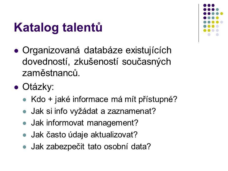 Katalog talentů Organizovaná databáze existujících dovedností, zkušeností současných zaměstnanců.