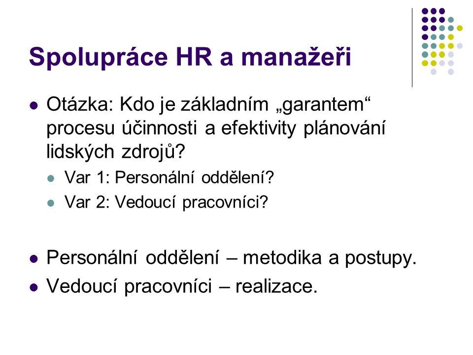 """Spolupráce HR a manažeři Otázka: Kdo je základním """"garantem procesu účinnosti a efektivity plánování lidských zdrojů."""