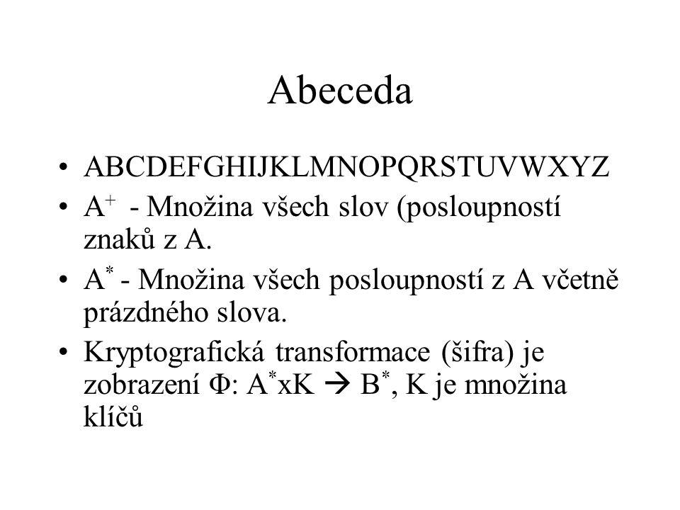 Abeceda ABCDEFGHIJKLMNOPQRSTUVWXYZ A + - Množina všech slov (posloupností znaků z A. A * - Množina všech posloupností z A včetně prázdného slova. Kryp