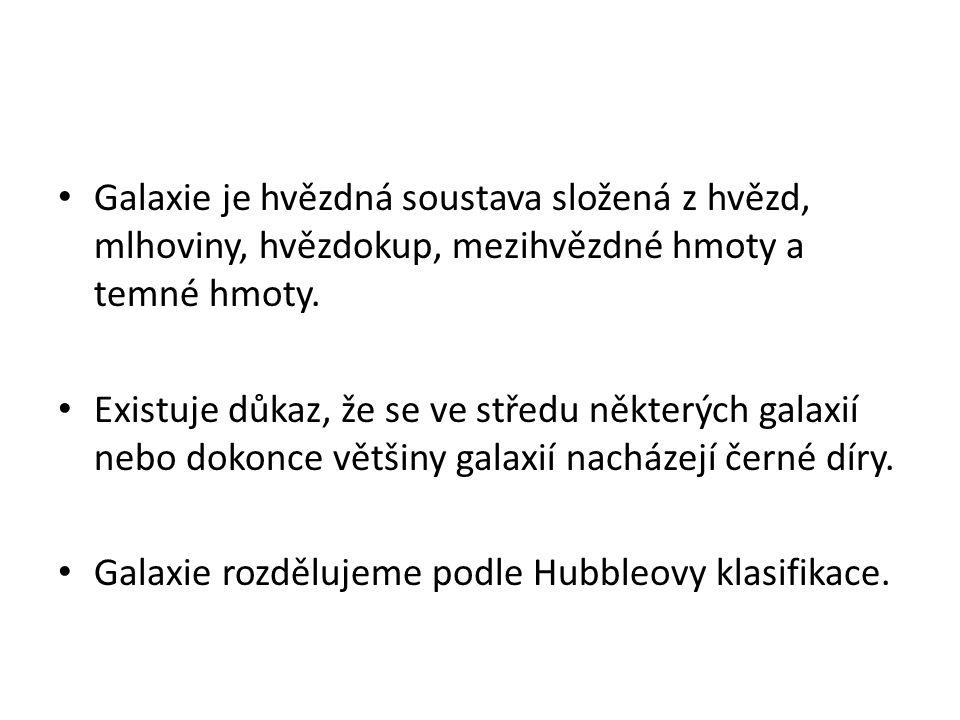 Hubbleova klasifikace galaxií Vznikla v roce 1925 a zavedl ji americký astronom Edwin Hubble.