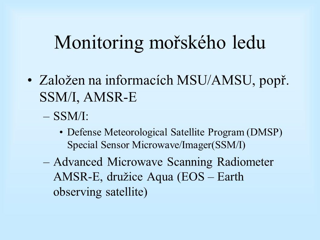Monitoring mořského ledu Založen na informacích MSU/AMSU, popř.