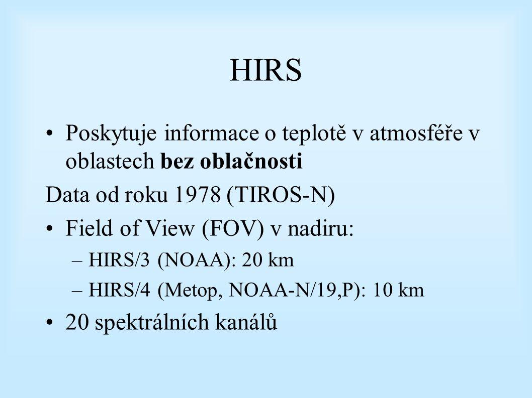 HIRS Poskytuje informace o teplotě v atmosféře v oblastech bez oblačnosti Data od roku 1978 (TIROS-N) Field of View (FOV) v nadiru: –HIRS/3 (NOAA): 20 km –HIRS/4 (Metop, NOAA-N/19,P): 10 km 20 spektrálních kanálů