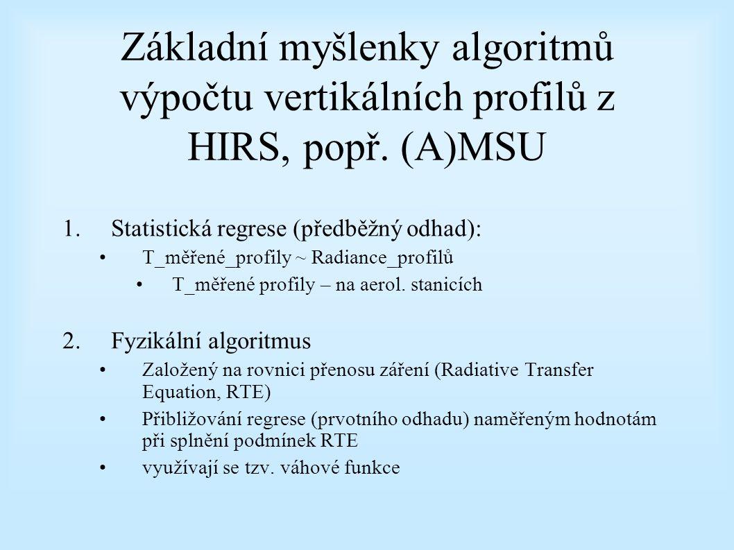 Základní myšlenky algoritmů výpočtu vertikálních profilů z HIRS, popř.