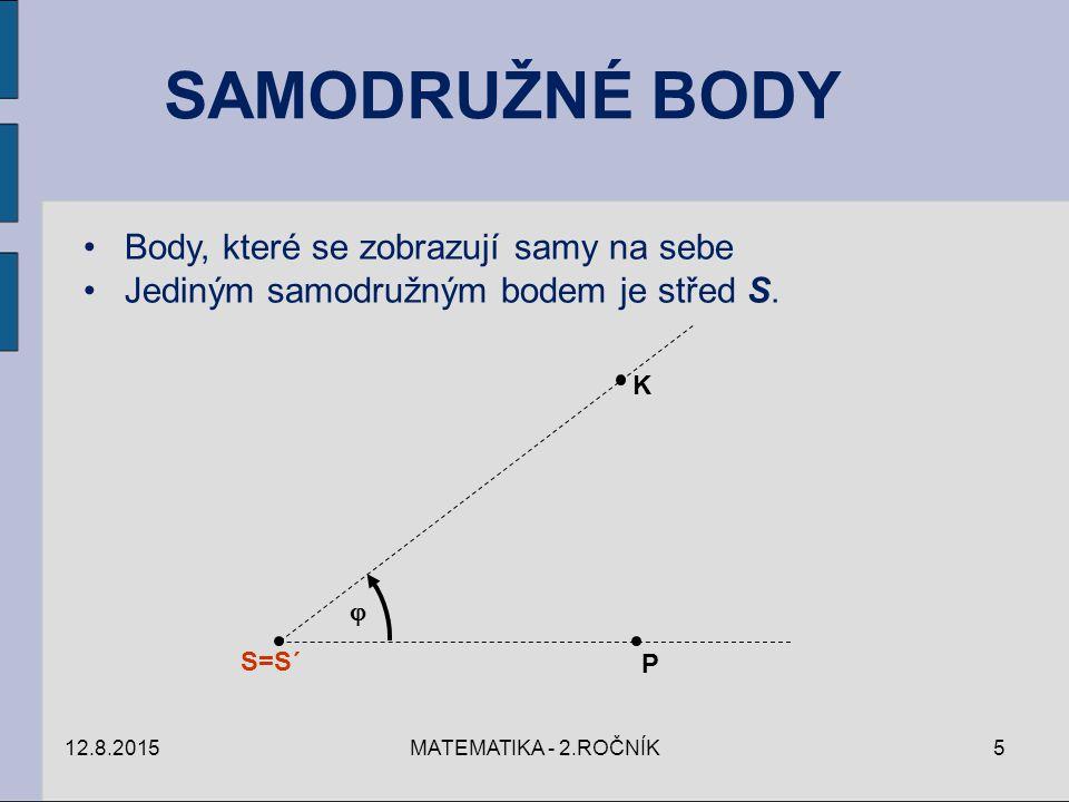 SAMODRUŽNÉ BODY Body, které se zobrazují samy na sebe Jediným samodružným bodem je střed S.