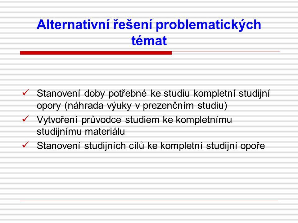 Alternativní řešení problematických témat Stanovení doby potřebné ke studiu kompletní studijní opory (náhrada výuky v prezenčním studiu) Vytvoření průvodce studiem ke kompletnímu studijnímu materiálu Stanovení studijních cílů ke kompletní studijní opoře