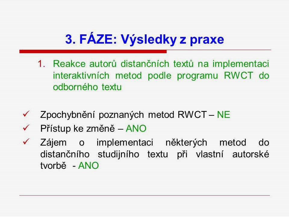 1.Reakce autorů distančních textů na implementaci interaktivních metod podle programu RWCT do odborného textu Zpochybnění poznaných metod RWCT – NE Přístup ke změně – ANO Zájem o implementaci některých metod do distančního studijního textu při vlastní autorské tvorbě - ANO 3.