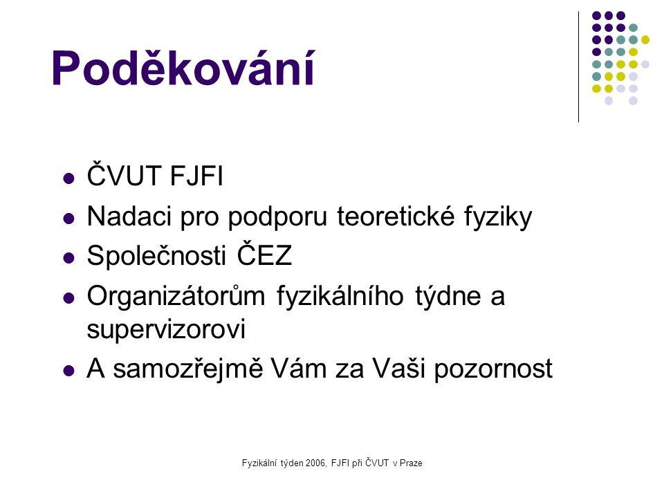 Fyzikální týden 2006, FJFI při ČVUT v Praze Poděkování ČVUT FJFI Nadaci pro podporu teoretické fyziky Společnosti ČEZ Organizátorům fyzikálního týdne a supervizorovi A samozřejmě Vám za Vaši pozornost
