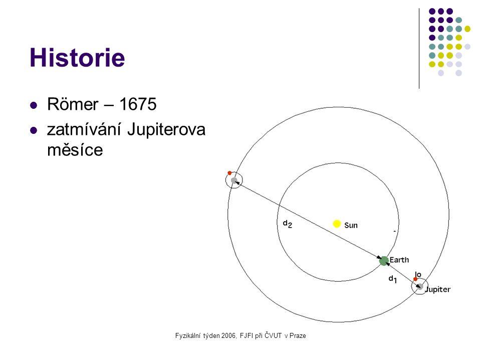 Fyzikální týden 2006, FJFI při ČVUT v Praze Historie Römer – 1675 zatmívání Jupiterova měsíce
