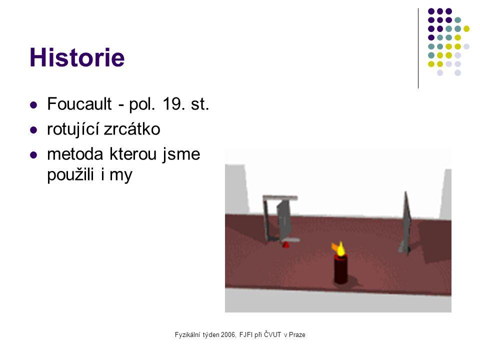 Fyzikální týden 2006, FJFI při ČVUT v Praze Historie Foucault - pol. 19. st. rotující zrcátko metoda kterou jsme použili i my