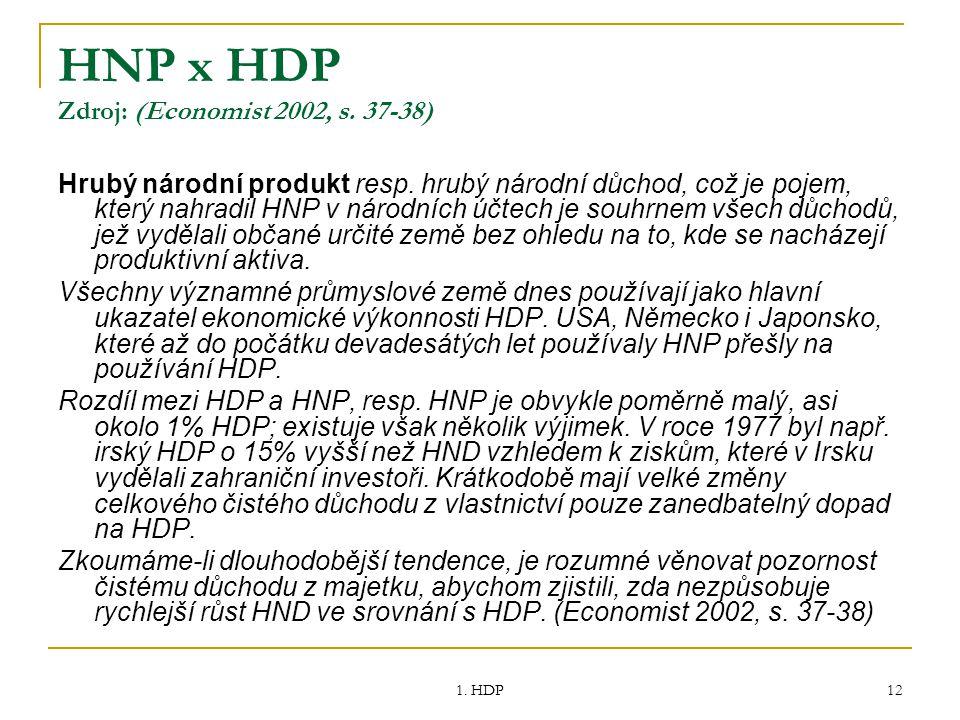 1. HDP 12 HNP x HDP Zdroj: (Economist 2002, s. 37-38) Hrubý národní produkt resp. hrubý národní důchod, což je pojem, který nahradil HNP v národních ú