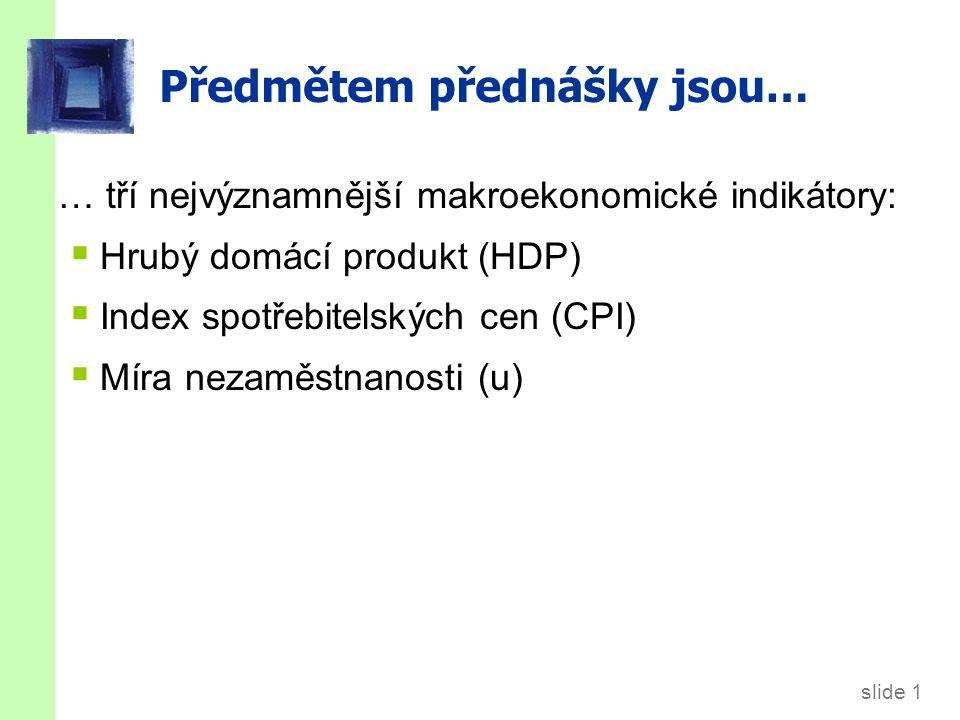 slide 1 Předmětem přednášky jsou… … tří nejvýznamnější makroekonomické indikátory:  Hrubý domácí produkt (HDP)  Index spotřebitelských cen (CPI)  M