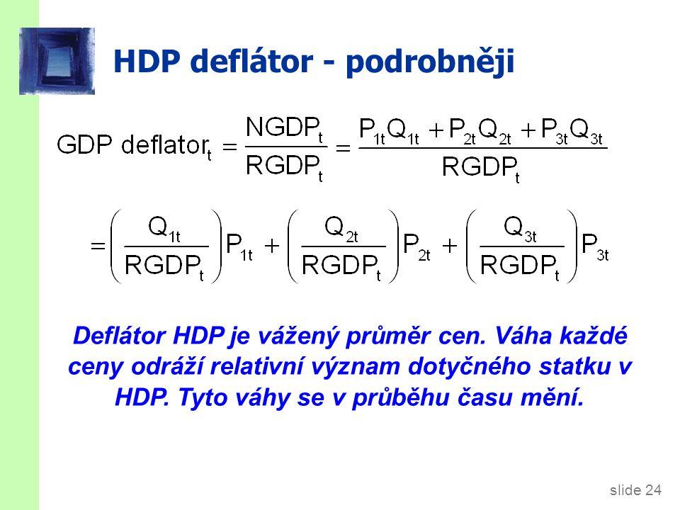slide 24 HDP deflátor - podrobněji Deflátor HDP je vážený průměr cen. Váha každé ceny odráží relativní význam dotyčného statku v HDP. Tyto váhy se v p