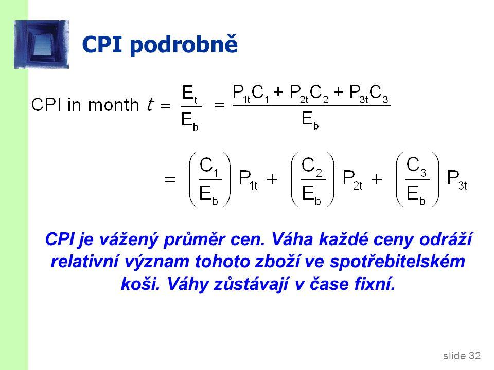 slide 32 CPI podrobně CPI je vážený průměr cen. Váha každé ceny odráží relativní význam tohoto zboží ve spotřebitelském koši. Váhy zůstávají v čase fi