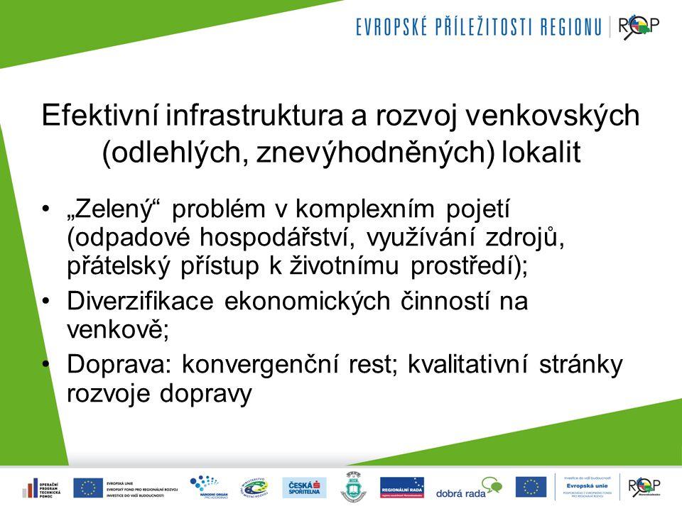 """Efektivní infrastruktura a rozvoj venkovských (odlehlých, znevýhodněných) lokalit """"Zelený problém v komplexním pojetí (odpadové hospodářství, využívání zdrojů, přátelský přístup k životnímu prostředí); Diverzifikace ekonomických činností na venkově; Doprava: konvergenční rest; kvalitativní stránky rozvoje dopravy"""