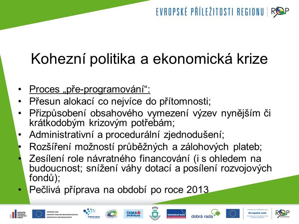 """Kohezní politika a ekonomická krize Proces """"pře-programování : Přesun alokací co nejvíce do přítomnosti; Přizpůsobení obsahového vymezení výzev nynějším či krátkodobým krizovým potřebám; Administrativní a procedurální zjednodušení; Rozšíření možností průběžných a zálohových plateb; Zesílení role návratného financování (i s ohledem na budoucnost; snížení váhy dotací a posílení rozvojových fondů); Pečlivá příprava na období po roce 2013"""