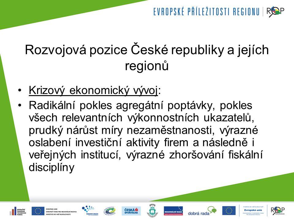 Rozvojová pozice České republiky a jejích regionů Pozice České republiky jako celku i jednotlivých regionů se vlivem krize v relativním vyjádření vůči průměru EU nezhoršila; prozatím právě naopak; Nejistotu vzbuzuje možný faktor zpoždění oživení v období po roce 2010