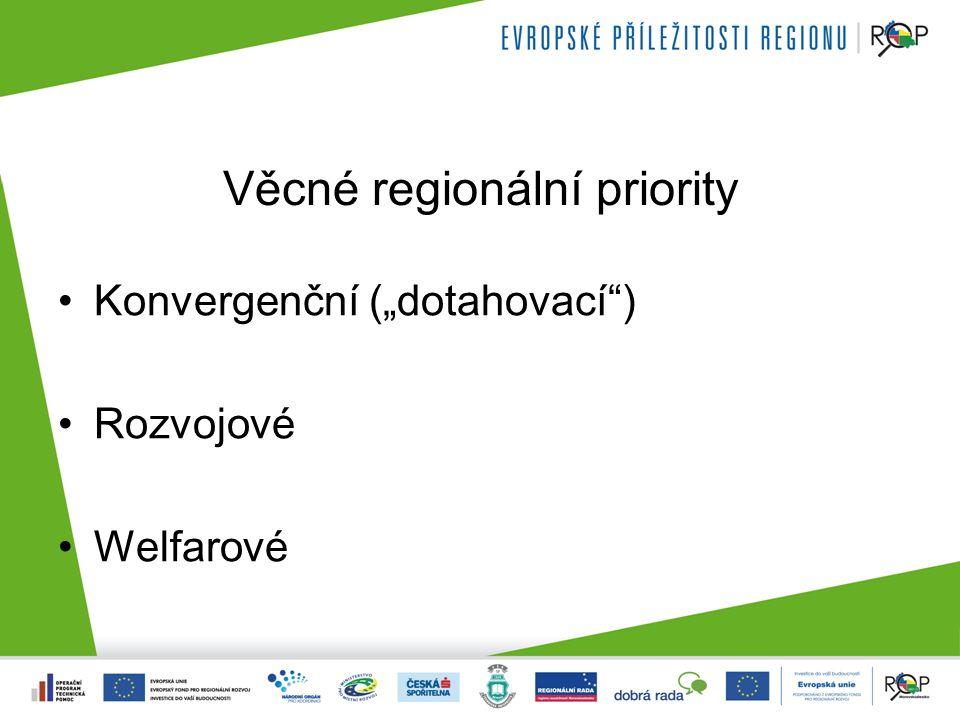 Věcné regionální priority Konkretizace: 1.Podpora konkurenceschopné ekonomiky (ROZVOJOVÁ) 2.
