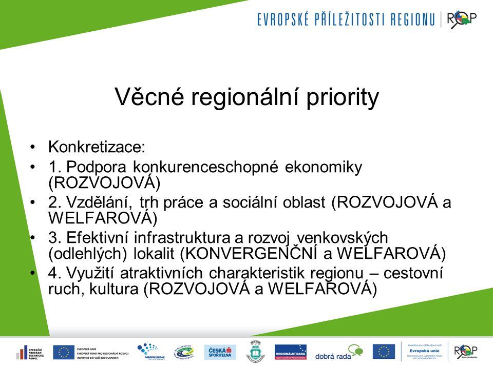 Věcné regionální priority Konkretizace: 1. Podpora konkurenceschopné ekonomiky (ROZVOJOVÁ) 2.