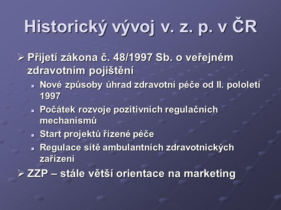 Historický vývoj v. z. p. v ČR  Přijetí zákona č.