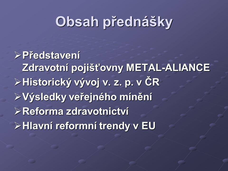 Obsah přednášky  Představení Zdravotní pojišťovny METAL-ALIANCE  Historický vývoj v.