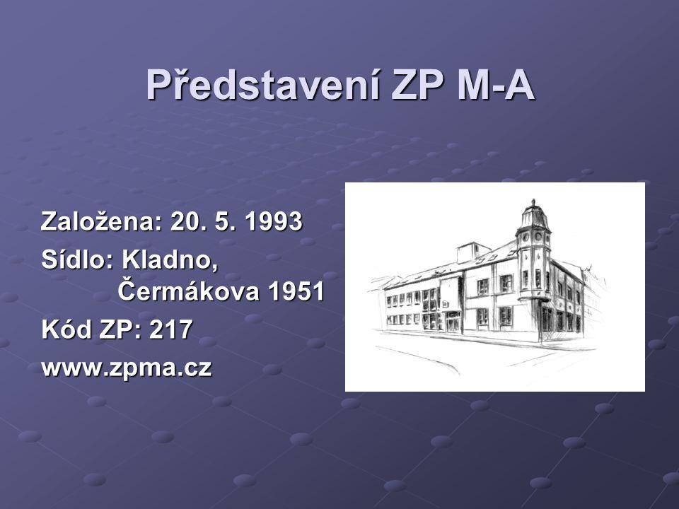 Představení ZP M-A Založena: 20. 5. 1993 Sídlo: Kladno, Čermákova 1951 Kód ZP: 217 www.zpma.cz