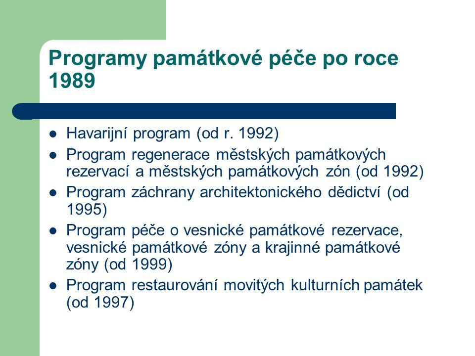 Programy památkové péče po roce 1989 Havarijní program (od r.