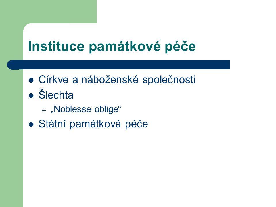 """Instituce památkové péče Církve a náboženské společnosti Šlechta – """"Noblesse oblige Státní památková péče"""