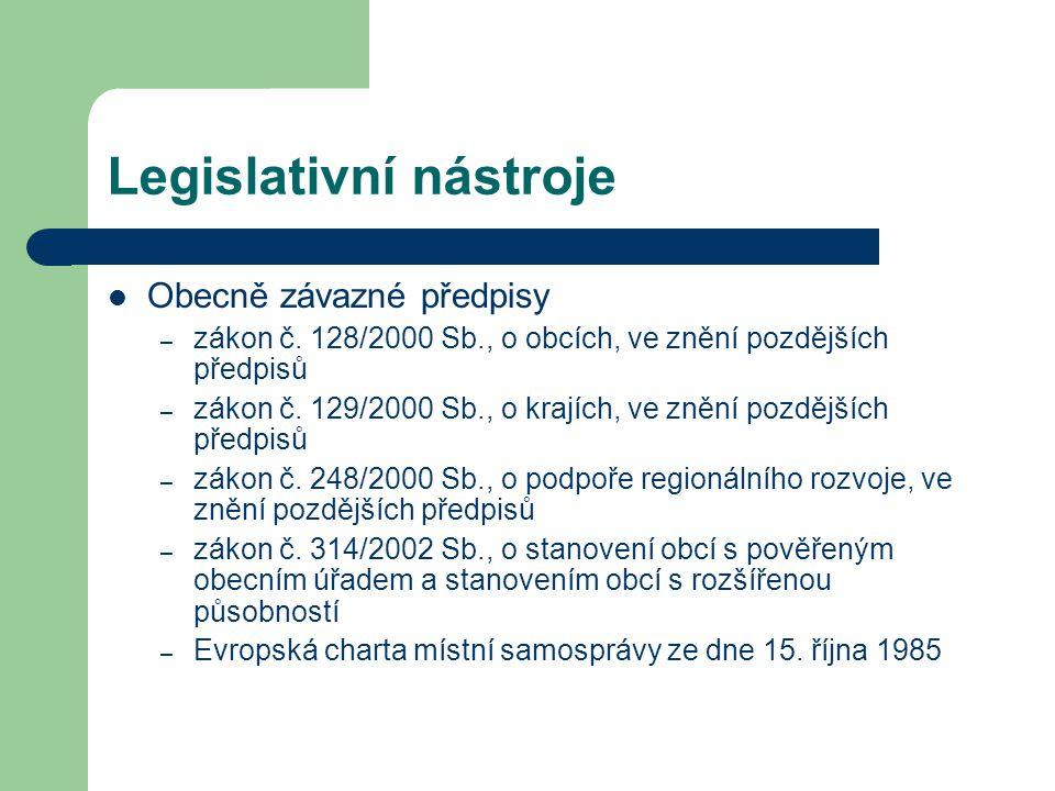 Legislativní nástroje Obecně závazné předpisy – zákon č.