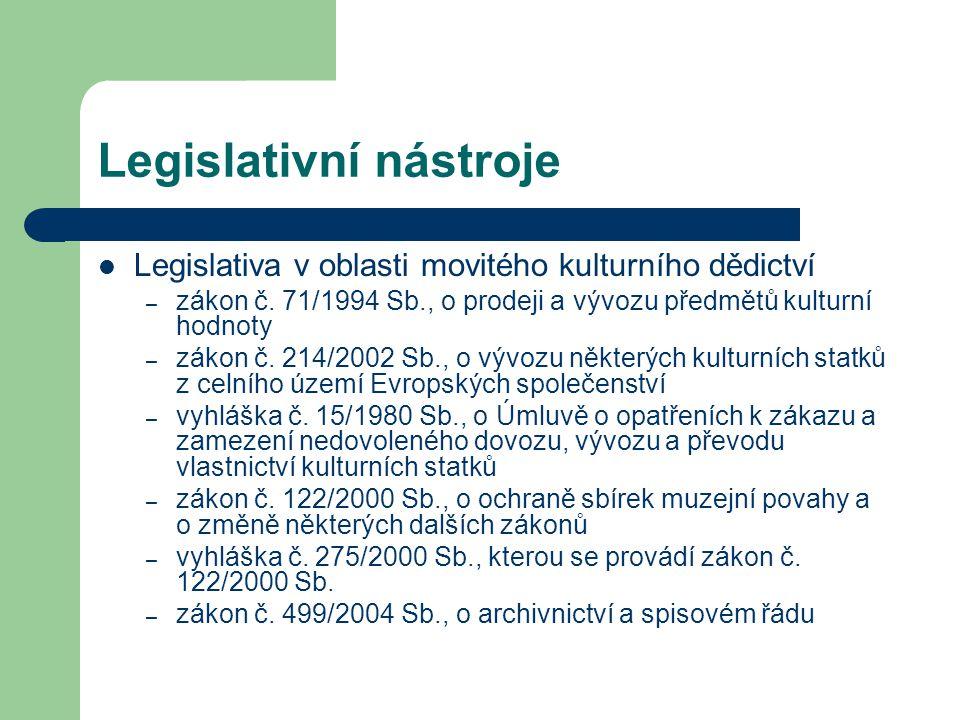 Legislativní nástroje Legislativa v oblasti movitého kulturního dědictví – zákon č.