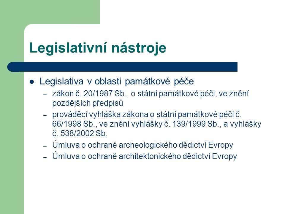 Legislativní nástroje Legislativa v oblasti památkové péče – zákon č.
