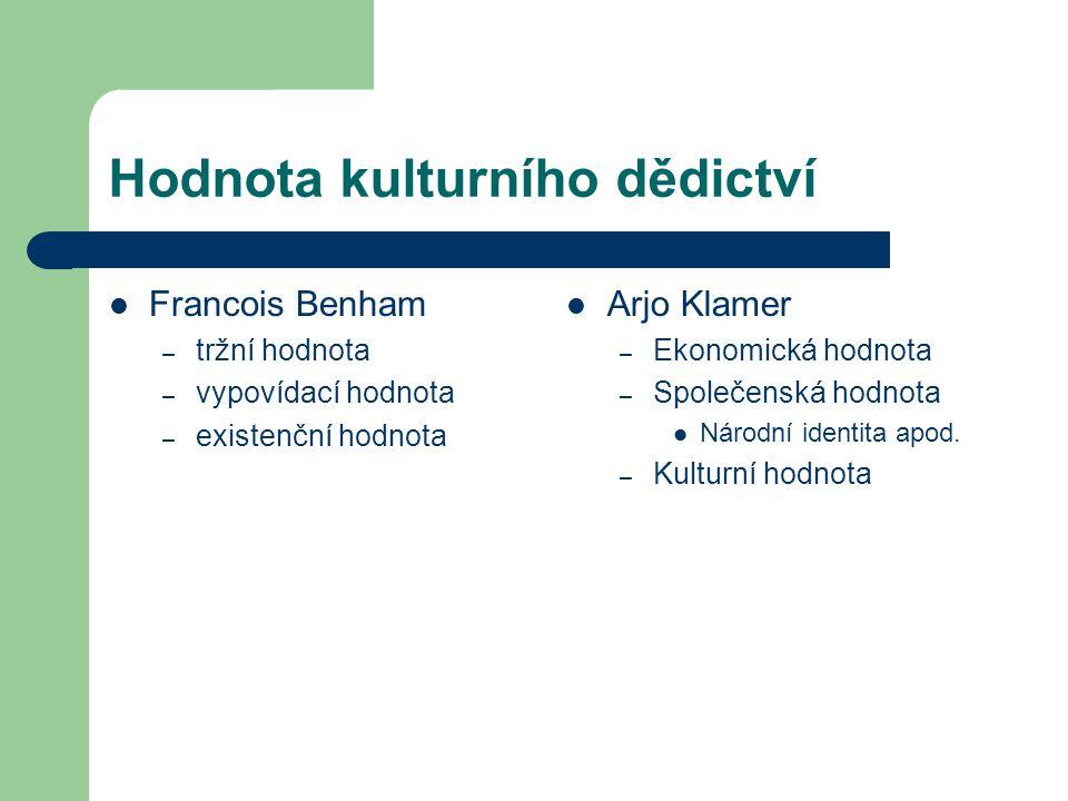 Hodnota kulturního dědictví Francois Benham – tržní hodnota – vypovídací hodnota – existenční hodnota Arjo Klamer – Ekonomická hodnota – Společenská hodnota Národní identita apod.