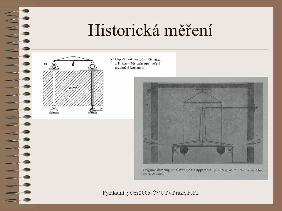 Fyzikální týden 2006, ČVUT v Praze, FJFI Historie Konstanta v Newtonově gravitačním zákoně : Cavendish 1798 – 6,754 (torzní váhy) Richarz, Krigar-Menzel 1898 – 6,685 (pákové váhy) Luther, Towler 1981 – 6,672 (torzní kmity)