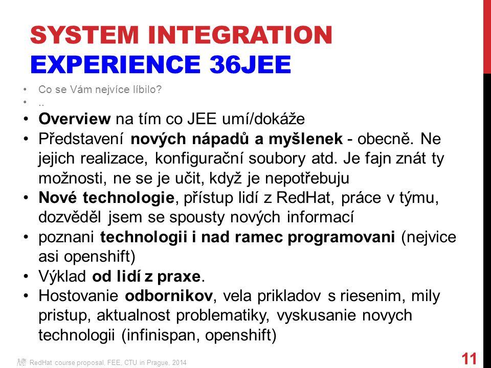 RedHat course proposal, FEE, CTU in Prague, 2014 11 Co se Vám nejvíce líbilo ..