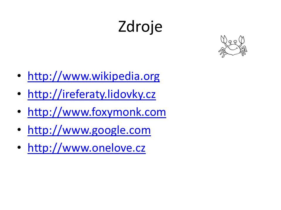 Zdroje http://www.wikipedia.org http://ireferaty.lidovky.cz http://www.foxymonk.com http://www.google.com http://www.onelove.cz