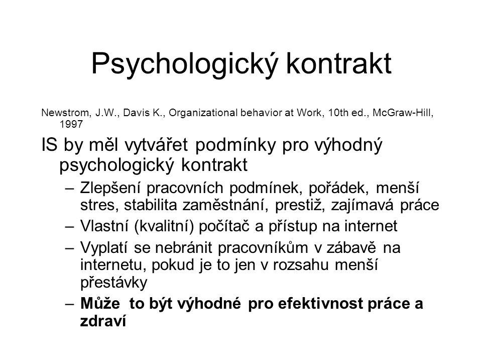 Psychologický kontrakt Newstrom, J.W., Davis K., Organizational behavior at Work, 10th ed., McGraw-Hill, 1997 IS by měl vytvářet podmínky pro výhodný