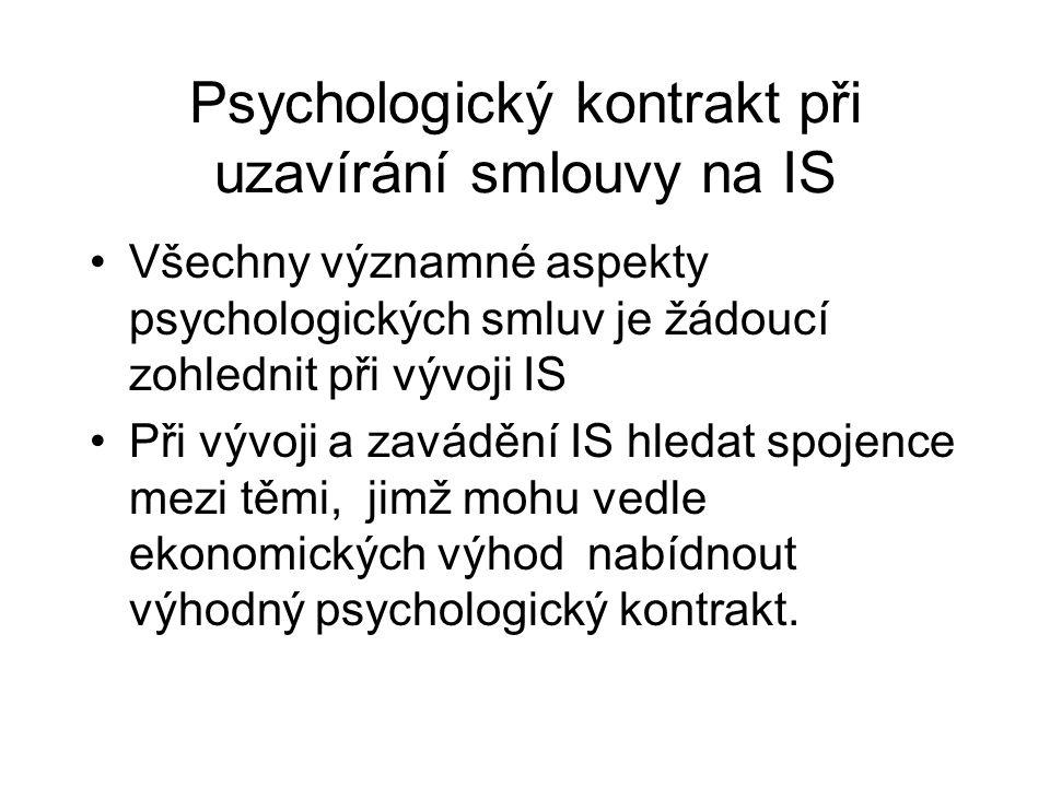 Psychologický kontrakt při uzavírání smlouvy na IS Všechny významné aspekty psychologických smluv je žádoucí zohlednit při vývoji IS Při vývoji a zavá