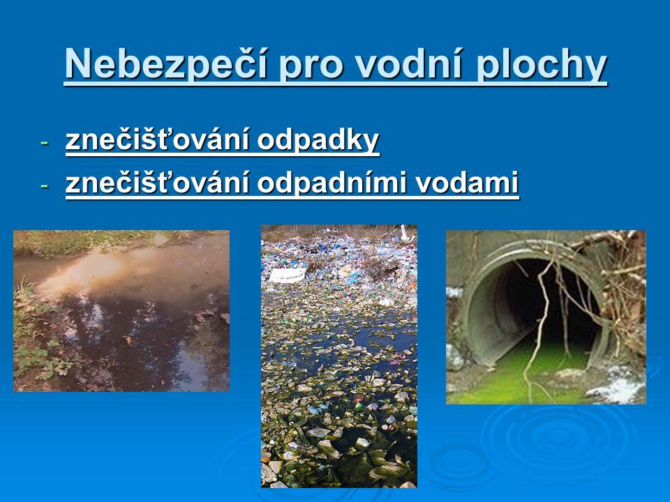 Nebezpečí pro vodní plochy - znečišťování odpadky - znečišťování odpadními vodami