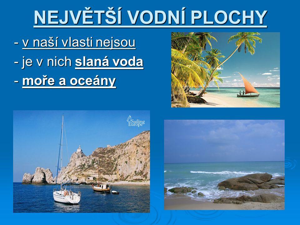 NEJVĚTŠÍ VODNÍ PLOCHY - v naší vlasti nejsou - v naší vlasti nejsou - je v nich slaná voda - je v nich slaná voda - moře a oceány - moře a oceány