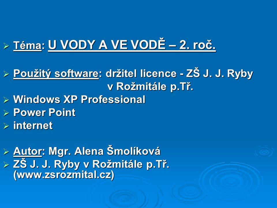  Téma: U VODY A VE VODĚ – 2. roč.  Použitý software: držitel licence - ZŠ J.