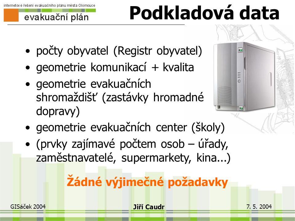 7. 5. 2004 GISáček 2004 Jiří Caudr Technické řešení Spolupráce tří subjektů metodika KGI UP, know-how MmOl a technologické zázemí Espace velké zkušeno
