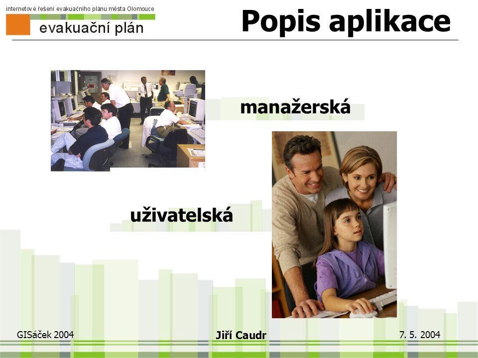 7. 5. 2004 GISáček 2004 Jiří Caudr Podkladová data počty obyvatel (Registr obyvatel) geometrie komunikací + kvalita geometrie evakuačních shromaždišť