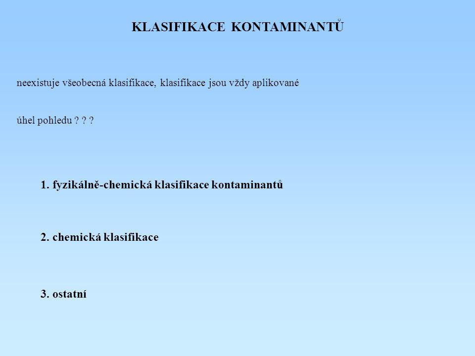 KLASIFIKACE KONTAMINANTŮ 1.