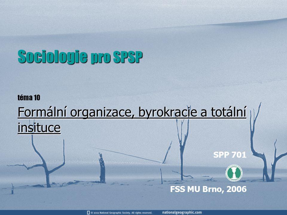 Povinná literatura KELLER, J.Sociologie byrokracie a organizace, Praha, SLON, 1996, s.93 – 113.