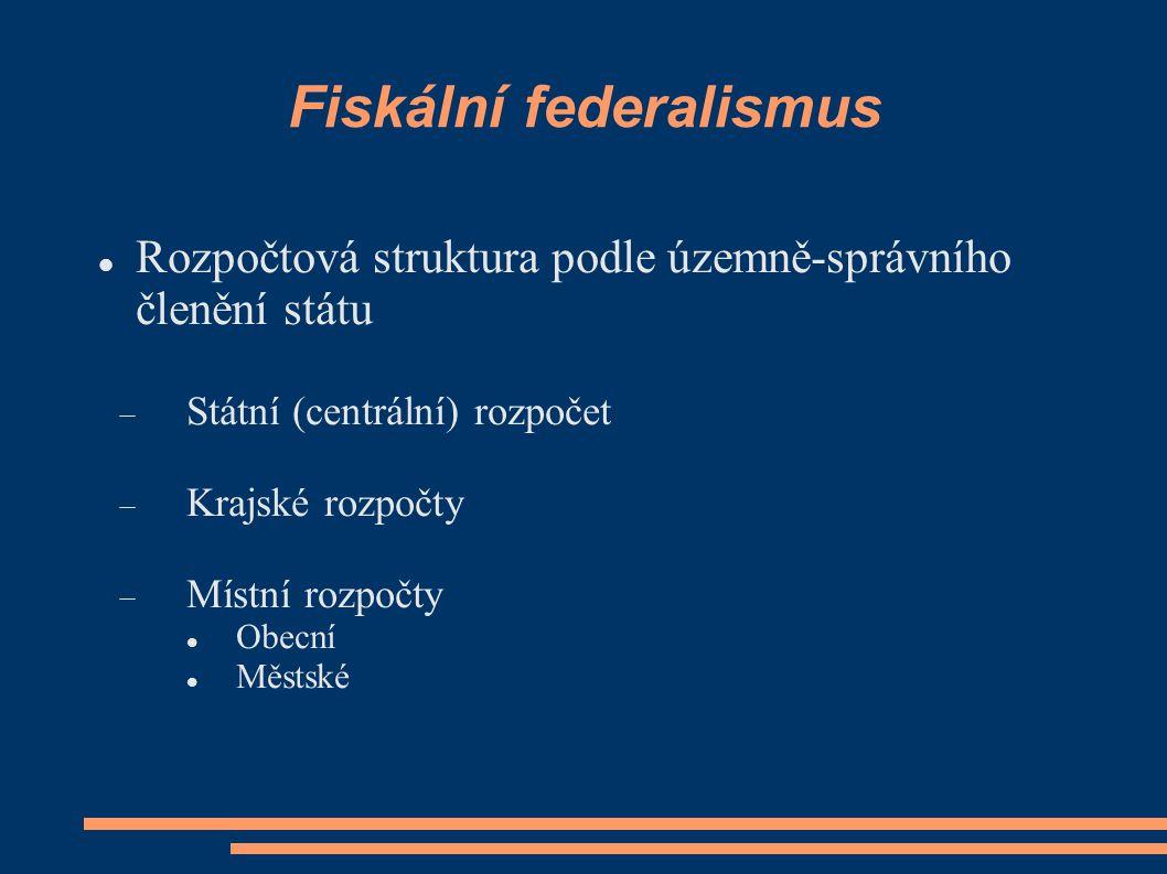Fiskální federalismus Rozpočtová struktura podle územně-správního členění státu  Státní (centrální) rozpočet  Krajské rozpočty  Místní rozpočty Obecní Městské