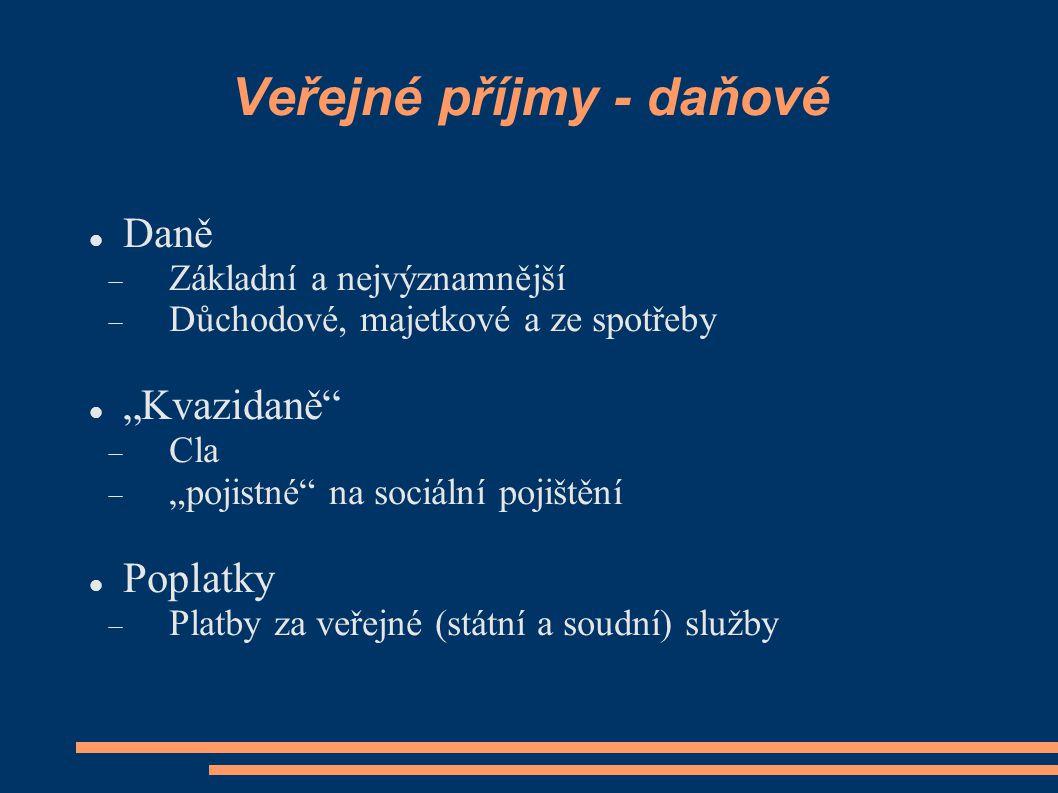 """Veřejné příjmy - daňové Daně  Základní a nejvýznamnější  Důchodové, majetkové a ze spotřeby """"Kvazidaně""""  Cla  """"pojistné"""" na sociální pojištění Pop"""