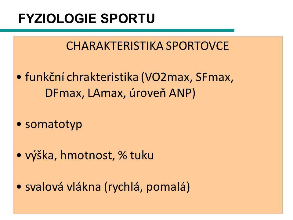 FYZIOLOGIE SPORTU CHARAKTERISTIKA SPORTOVCE funkční chrakteristika (VO2max, SFmax, DFmax, LAmax, úroveň ANP) somatotyp výška, hmotnost, % tuku svalová vlákna (rychlá, pomalá)