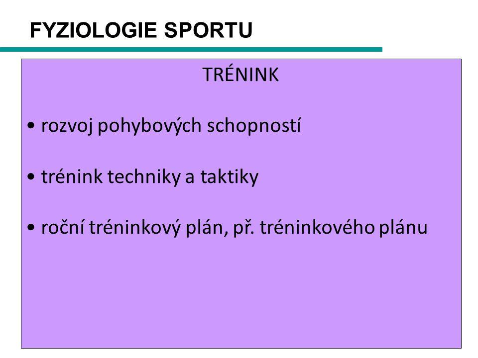 FYZIOLOGIE SPORTU TRÉNINK rozvoj pohybových schopností trénink techniky a taktiky roční tréninkový plán, př.