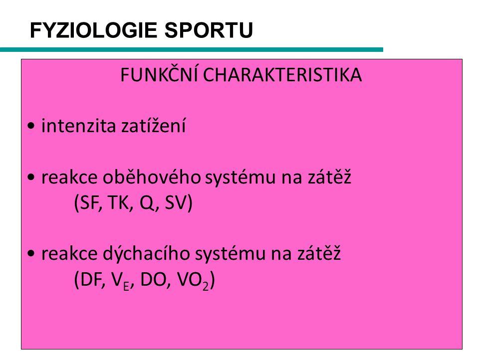 FYZIOLOGIE SPORTU FUNKČNÍ CHARAKTERISTIKA intenzita zatížení reakce oběhového systému na zátěž (SF, TK, Q, SV) reakce dýchacího systému na zátěž (DF, V E, DO, VO 2 )