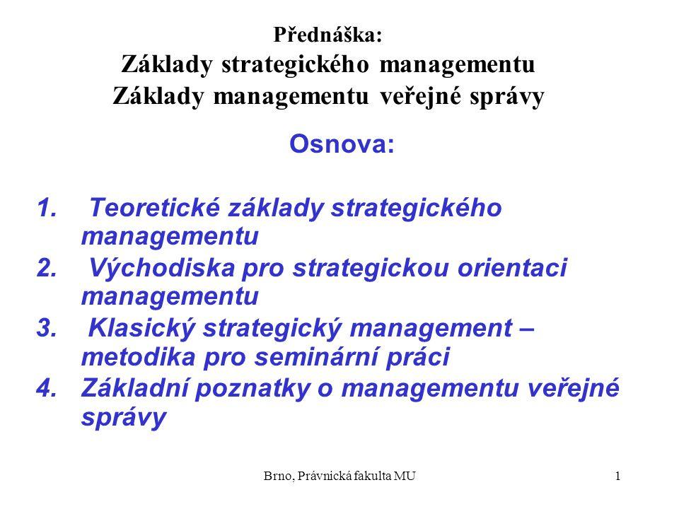 Brno, Právnická fakulta MU1 Přednáška: Základy strategického managementu Základy managementu veřejné správy Osnova: 1. Teoretické základy strategickéh